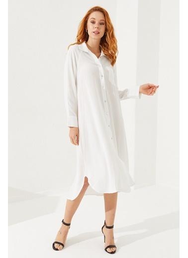 Reyon Empirme Desen Keten Kadın Ceket Bej Beyaz